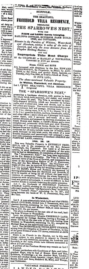 The Essex Standard of 20 July 1849 has an advertisement for the sale of Sparrowe's Nest